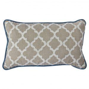 Blue Fretwork cushion