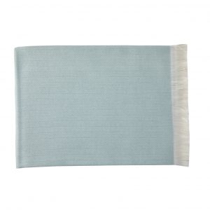 Duck egg blue cashmere herringbone throw