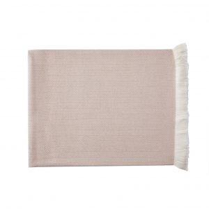 Powder Pink herringbone cashmere throw